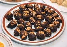 Placa de las galletas del chocolate Imagen de archivo