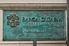 Placa de las jefaturas del Banco de Italia en Roma fotos de archivo