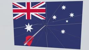 Placa de las roturas de la flecha del tiro al arco que ofrece la bandera de AUSTRALIA animación 3D ilustración del vector