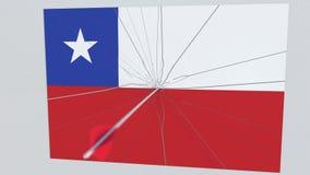 Placa de las roturas de la flecha del tiro al arco que ofrece la bandera de CHILE animación 3D ilustración del vector