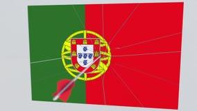 Placa de las roturas de la flecha del tiro al arco que ofrece la bandera de PORTUGAL animación 3D stock de ilustración