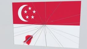 Placa de las roturas de la flecha del tiro al arco que ofrece la bandera de SINGAPUR animación 3D ilustración del vector