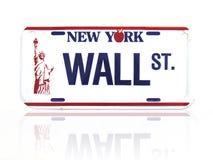 Placa de licença de Wall Street Imagens de Stock