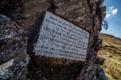 Placa de los artes en las montañas de Wicklow Foto de archivo