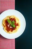Placa de los espaguetis Bolognaise Foto de archivo