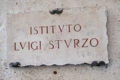Placa de mármol de Luigi Sturzo Institute en Roma Fotos de archivo libres de regalías