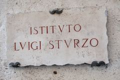 Placa de mármore de Luigi Sturzo Institute em Roma Fotos de Stock Royalty Free