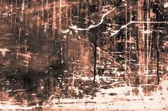 Placa de madeira arranhado velha com cores e giz principalmente alaranjado Imagens de Stock
