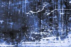 Placa de madeira arranhado velha com cores e giz principalmente azul Foto de Stock Royalty Free