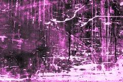 Placa de madeira arranhado velha com cores e giz principalmente roxo Fotos de Stock Royalty Free