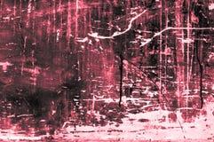 Placa de madeira arranhado velha com cores e giz principalmente vermelho Foto de Stock