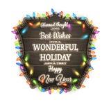 Placa de madeira com atributos do Natal Eps 10 Fotografia de Stock