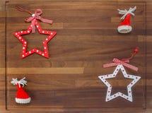 Placa de madeira com decorações do Natal Fotografia de Stock Royalty Free
