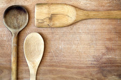 Placa de madeira da mesa da cozinha velha Fotografia de Stock