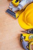 Placa de madeira de carvalho com coleção da construção Foto de Stock