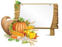 Placa de madeira do Cornucopia ilustração royalty free