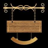 Placa de madeira do estilo retro ilustração royalty free