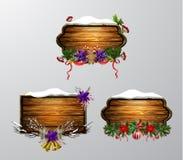 Placa de madeira do Natal do vetor ilustração stock