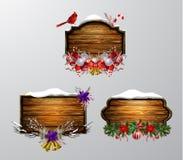 Placa de madeira do Natal do vetor ilustração do vetor
