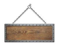 Placa de madeira do sinal com a corrente do metal isolada Imagem de Stock