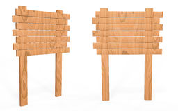 Placa de madeira do sinal da vista lateral e dianteira Imagem de Stock Royalty Free