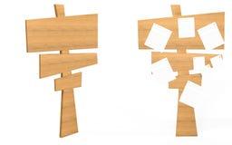 Placa de madeira do sinal da vista lateral e dianteira com papéis nela Fotos de Stock