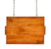Placa de madeira do sinal do vintage com correntes Imagem de Stock Royalty Free