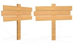 Placa de madeira do sinal dos desenhos animados da vista lateral e dianteira Fotografia de Stock