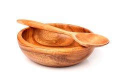 Placa de madeira e colher isoladas Foto de Stock Royalty Free