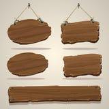 Placa de madeira na corda fotografia de stock