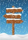 Placa de madeira na neve Imagem de Stock