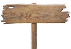 Placa de madeira velha do sinal de estrada isolada no branco Fotografia de Stock Royalty Free