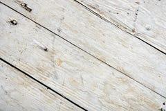 Placa de madeira velha pintada branca Imagens de Stock