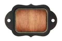 Placa de madera del fondo de la textura con el marco de acero fotos de archivo libres de regalías