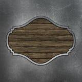 Placa de madera del Grunge en fondo rasguñado del metal Fotos de archivo libres de regalías
