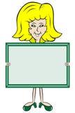 Placa de mensagem da terra arrendada da senhora dos desenhos animados Imagens de Stock Royalty Free