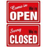 Placa de metal aberta & fechado Fotografia de Stock