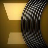 Placa de metal amarelo com alguns reflexão e elementos pretos Fotos de Stock Royalty Free
