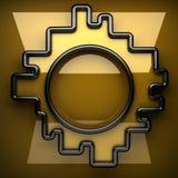 Placa de metal amarelo com alguns reflexão e elementos pretos Imagens de Stock Royalty Free