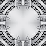 Placa de metal com parafusos Imagens de Stock Royalty Free