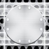 Placa de metal com rebites e chapa de vidro Imagens de Stock Royalty Free