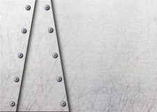 Placa de metal con los remaches sobre el fondo de acero rústico, 3d, illust Imagen de archivo libre de regalías