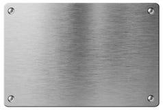 Placa de metal de aço com os rebites isolados Imagem de Stock Royalty Free