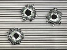 Placa de metal de aço do buraco de bala Fotografia de Stock Royalty Free