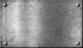 Placa de metal de aço ou de alumínio com rebites Fotos de Stock