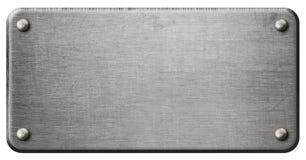 Placa de metal de aço riscada isolada com trajeto de grampeamento Imagens de Stock Royalty Free