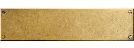 Placa de metal de bronze com os quatro parafusos de parafuso isolados foto de stock