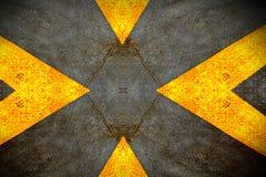 Placa de metal del diamante del Grunge con la muestra amarilla Imagen de archivo libre de regalías