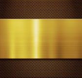 Placa de metal del oro sobre el ejemplo del fondo 3d de la rejilla del peine foto de archivo libre de regalías