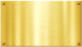 Placa de metal dourada com cabeças do prego do parafuso Fotos de Stock Royalty Free